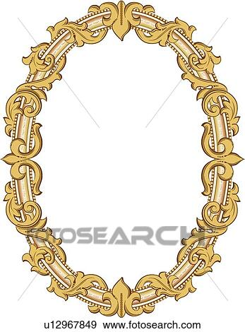 Clip Art Of Oval Gold Frame U12967849