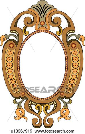Clip Art Of Red Gold Orange And Brown Decorative Oval Frame