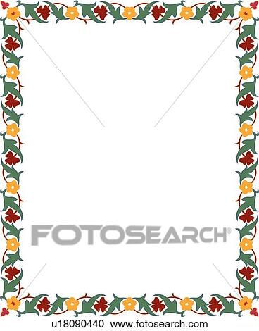 Red Greena And Yellow Floral Border Clipart U18090440 Fotosearch