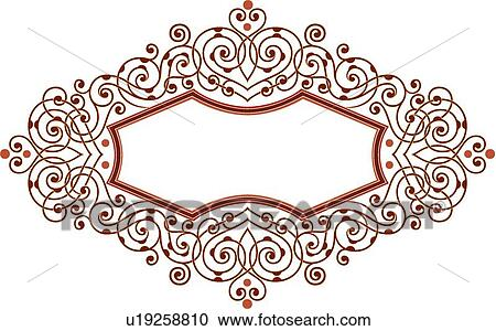 Clipart of Red Scroll Frame u19258810 - Search Clip Art ...