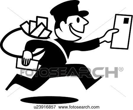 Retro mailman Clip Art | u23916857 | Fotosearch