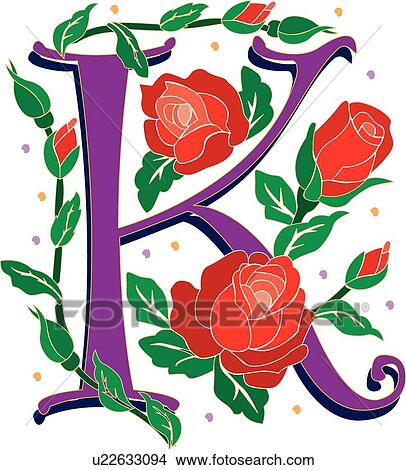 clipart of rosette letter k u22633094 search clip art rh fotosearch com letter k clipart pictures letter c clipart with vines