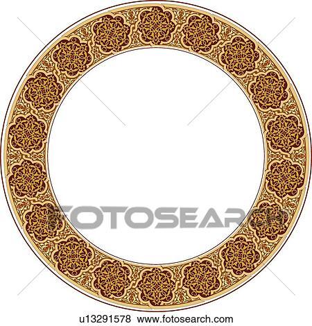 Clip Art Of Round Brown Victorian Frame U13291578