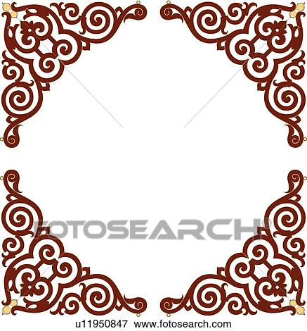 Clip Art Of Square Frame With Symmetrical Brown And Yellow