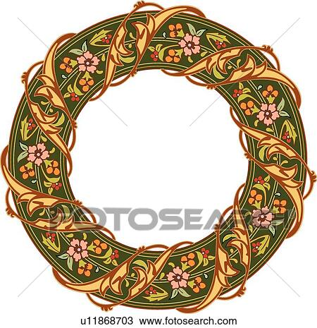 round green frame with pink and red flowers and orange berry accents and a gold leaf ribbon