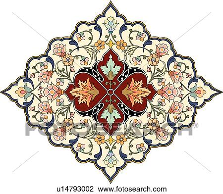 Clipart of Orange, green, blue and red floral Arabesque Design ...