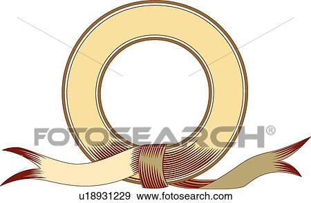 Clip Art of Yellow, red and green round ribbon Frame u18931229 ...