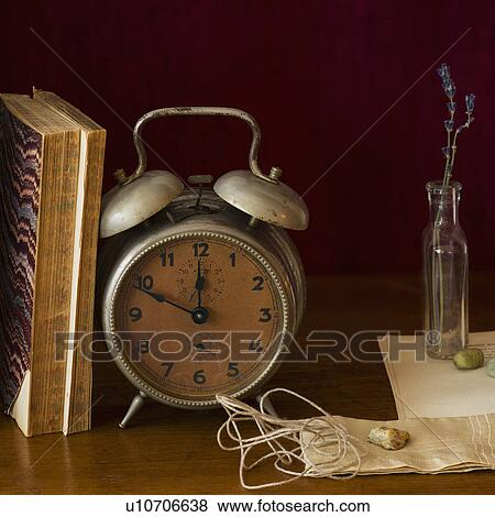 Still Life With Antique Clock And Books