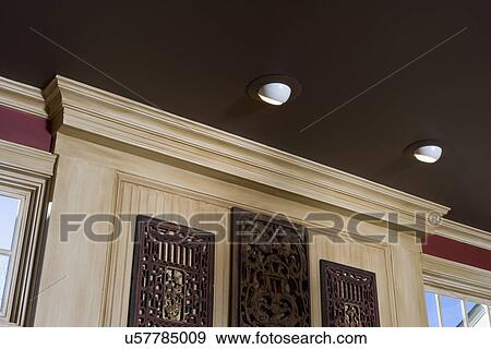 Architectural Trim Dark Brown Painted Ceiling Light Stained Wood Red Walls