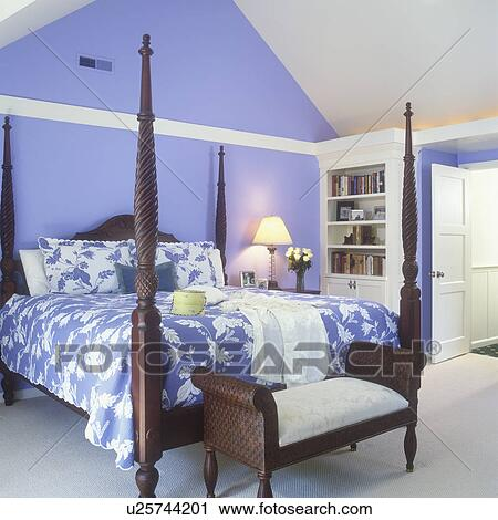 Bedroom Vaulted Ceiling Periwinkle Blue Walls With Quilt Spread To Match Dark Wood Four Poster Bed Plantation Style Bench Bookshelves