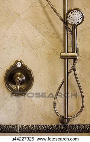 Brushed Aluminum Shower Faucet And Detachable Showerhead; Aliso Viejo;  California; USA
