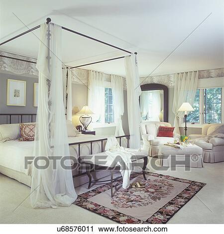 Camere letto, -, maestro, camera letto, manifesto quattro, letto, con,  baldacchino, assoluto, tessuto, drappeggiato, da, piantoni, bianco,  lettiera, ...