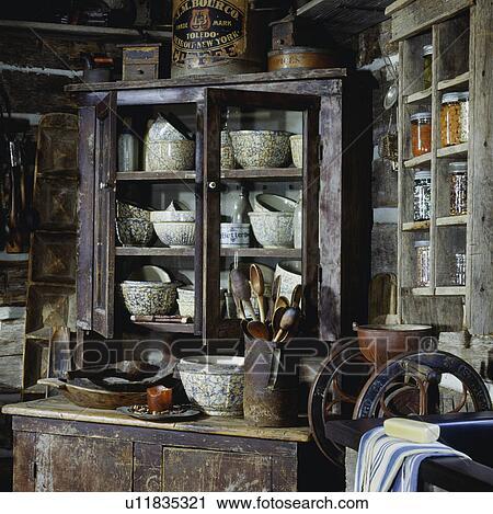 Banco de Fotografías - cocina, con, cuartopara desayunar, granero ...