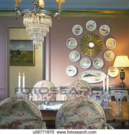 Dining Room Crystal Chandelier Fish Plate Collection Rose
