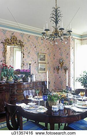 Dining Room Traditional Greek Revival Formal Table Set Pink Print Wallpaper White Beige And Green Painted Trim Work Antique Furniture