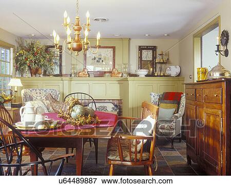 Fußboden Im Eßzimmer ~ Bild eßzimmer kirschen eßtisch windsor stühle schiefer