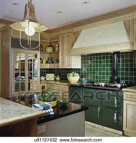 Stock Photo Of European Style Kitchen Green Ceramic Tile
