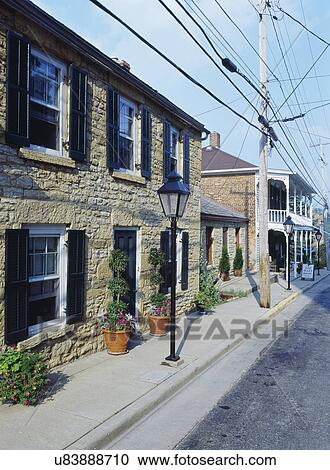 Exteriors Two Story Stone 1850 S City Home Shutters Lamp