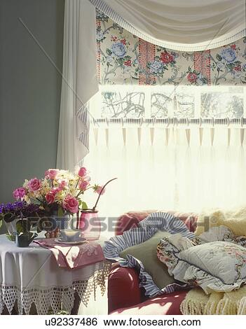 And Linen Tablecloth Flowers Raspberry Colored Sofa Covered With Pillows Yellow Throw White Swag Valance Fl Shade Ring Top Cafe Curtains