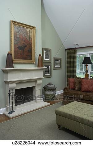 Stock Photo Of Family Rooms View To Fireplace Cathedral
