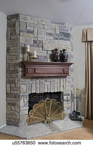 Fireplaces:, Simuliert, Zusammengesetzt, Schauen, Steinplatte, Verschoben,  Eiche, Kaminsims, Kerze Behälter, Zwei, Vasen, Messing, Fächer, Feuer,  Schirm