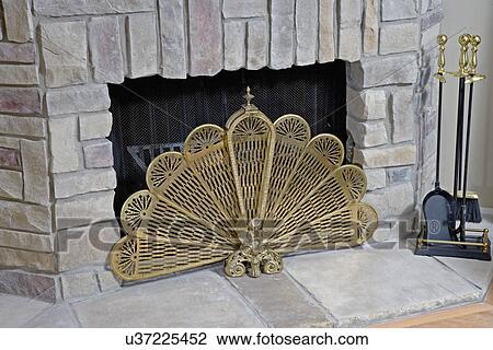 Fireplaces:, Teilausschnitt, Messing, Fächer, Feuer, Schirm, Gasfeuer,  Simuliert, Steinplatte, Kamin Werkzeug Satz