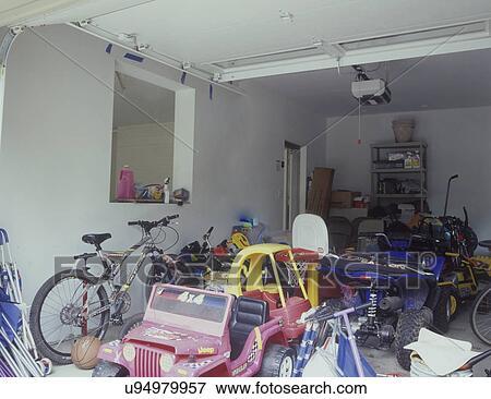 Garage Storage Cluttered Mess Before Organization Kids Toys Bikes Horizontal