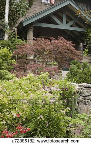 Great GARDEN: Painted Green Porch Portico, Concrete Pillars, Japanese Maple,  Flowers