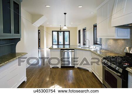Stock Photo of Hardwood floor in kitchen, Pasadena, California, USA ...