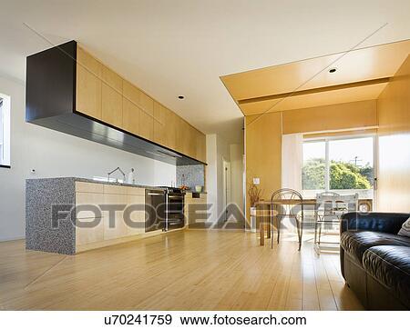 Hardwood Floors In Modern Kitchen San Diego California United