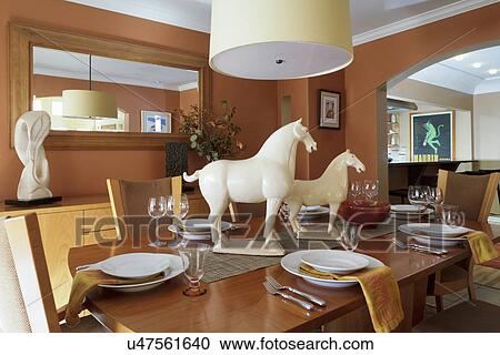 Horse Decorations On Traditional Dining Table Albuquerque New Mexico Usa
