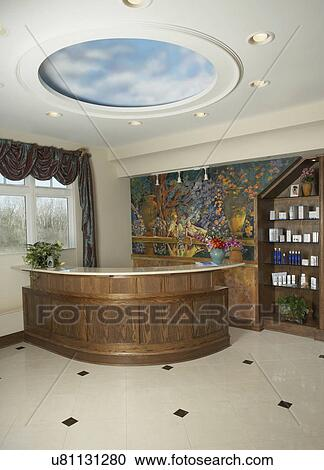 Jour Spa Bureau Reception Secteur De Station Thermale Jour Circulaire Plafond Disque Faux Peint Nuages Mur Mural De Italien Jardin