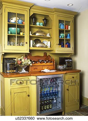 KITCHEN CABINETS: Stand alone custom made hutch with glass ...