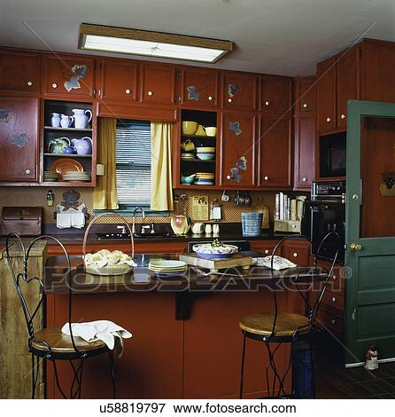 Picture Of Kitchen Country Style Red Painted Cabinets