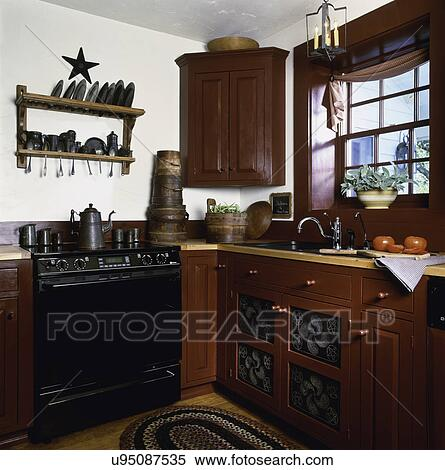 Stock Image Of Kitchen Cranberry Red Painted Furniture Style