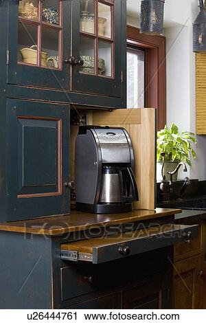 KITCHEN DETAILS: Custom Furniture Style Cabinets By David Smith, Open Door  Reveals Coffee Maker And Pull Out Work Space, Distressed Dark Green Finish