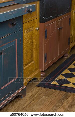 Delicieux KITCHEN DETAILS: Furniture Style Cabinets By David Smith, Detail Of Bun  Feet And Bracket Feet, Different Paint And Stain Finishes On Each Cabinet,  ...