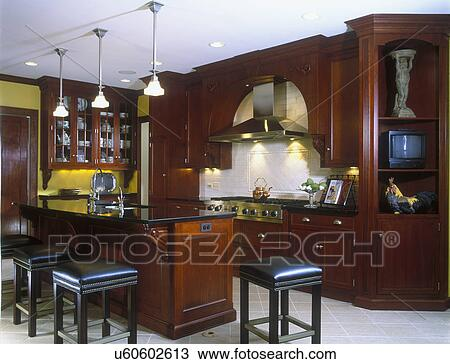 Fantastic Kitchens Cherry Cabinets Island With Eating Bar Stools Machost Co Dining Chair Design Ideas Machostcouk