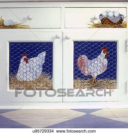 Kitchens Faux Painted Chickens Behind Painted Chicken Wire On Kitchen Cabinets French Country Picture U95729334 Fotosearch