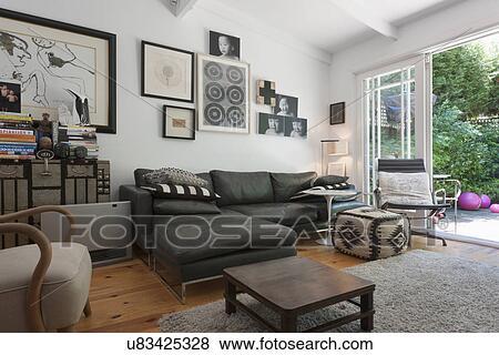 Leather sofa in traditional living room; Sydney; Australia Stock Photo
