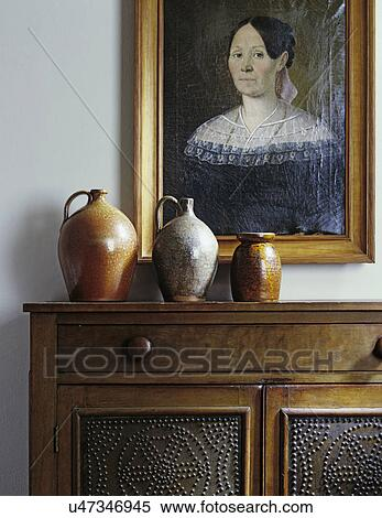 LIVING ROOM DETAILS: Still Life, Sideboard With Three Salt Glaze Jugs, Punched  Tin Panels On Walnut Cabinet, Portrait Oil Painting Of Woman, Early  American ...