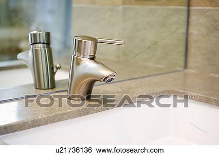 Modern Bathroom Faucet Cardiff By The Sea California Usa Stock Photograph U21736136 Fotosearch