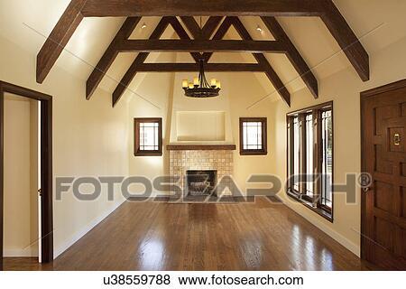 Beelden - parket, in, lege, woonkamer, met, openhaard ...
