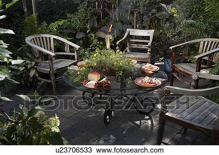 Colección de foto - patio, area:, cuatro, teak, británico, estilo ...