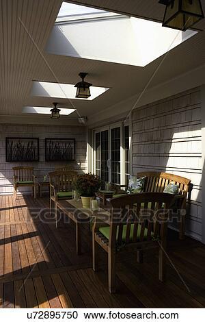 patios bedekt porch dek gebied lichtkoepels in dak kunstnijjverheid buiten verlichting ceder schudden teakhout meubel met linde brink