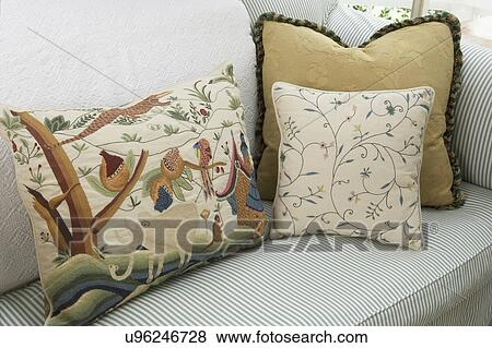 Amazing Pillows Green And White Cotton Ticking Sofa With Mixed Theyellowbook Wood Chair Design Ideas Theyellowbookinfo