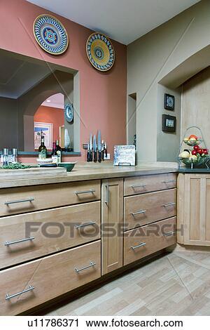 Banco de Fotografías - pisos de madera dura, y, gabinetes, en ...