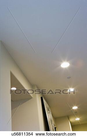 Stock photo of row of recessed lighting detail san diego row of recessed lighting detail san diego california usa aloadofball Images