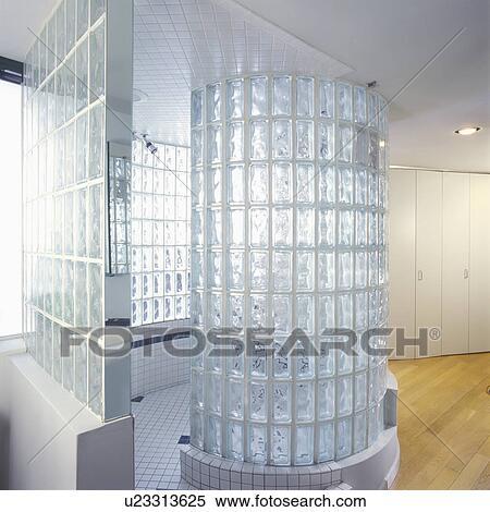 Banque D'Image - Salles Bains, -, Bloc Verre, Douche, Stall