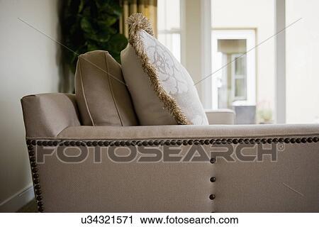 Side Of Sofa With Rivets; San Diego; California; USA